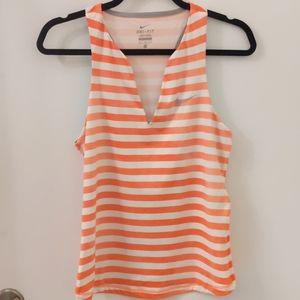 Nike Dri-Fit Striped Orange/White Medium Tank Top